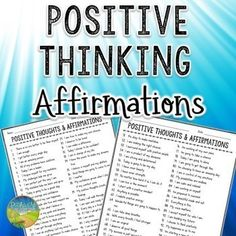 101 Positive Thinking Affirmations Use these 101 free positive thinking affirmations to help kids and young adults with anxiety, depression, anger, dealing with stress, and more. This resource i Anxiety Activities, Anxiety Coping Skills, Anxiety Tips, Social Anxiety, How To Treat Anxiety, Deal With Anxiety, Anxiety Disorder Symptoms, Learning