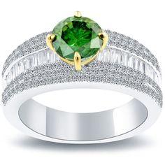 2.85 Carat Fancy Green Diamond Engagement Ring 14k White Gold #LioriDiamonds #DiamondEngagementRing