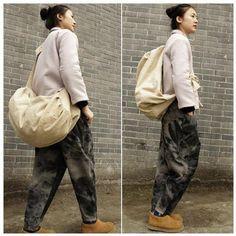 Bag - Women Cotton Linen Solid Color Shoulder Bag