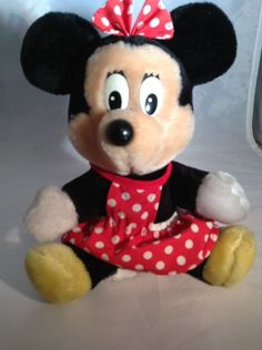 Minnie Mouse Plush Disney Walt Disney World Red Polka Dots 8"