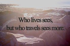 .#travel #quote Who lives sees, but who travels sees more.