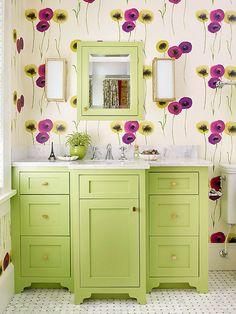 Green Vanity, Contemporary, bathroom, Benjamin Moore Stem Green, Traditional Home Bad Inspiration, Bathroom Inspiration, Muebles Shabby Chic, Small Bathroom Vanities, Bathroom Ideas, Master Bathroom, Bathroom Storage, Bathroom Heater, French Bathroom