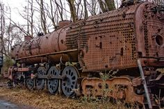This abandoned railway engine in Pennsylvania has taken on the earth shades of the autumn leaves around it