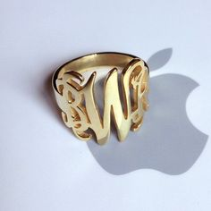 Gold Monogram Initial Monogram Ring,Personalized Name Ring,Engraved Monogrammed Ring,Custom Name Jewelry Name Jewelry, Engraved Rings, Monogram Initials, Monogram Necklace, Personalized Jewelry, Sterling Silver Jewelry, White Gold, Finger, Name Rings