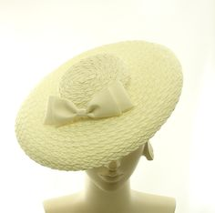 Straw Fancy Hat for Women - 1920s Style Boater Hat - Saucer Hat - Big Bow. $140.00, via Etsy.