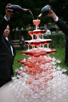 Champagne tower at Paris Ritz cocktail party.
