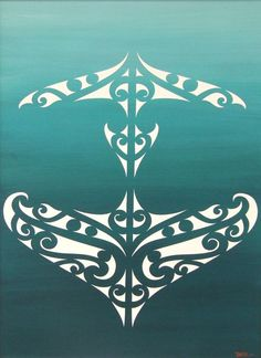 White maori design on Green background.