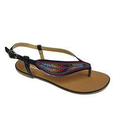 Look what I found on #zulily! Black Feather Sandal #zulilyfinds