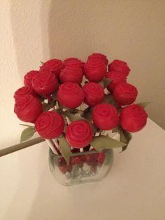 Bouquet of Rose Cake Pops by ClassyLittleCakePops on Etsy. $30.00, via Etsy.