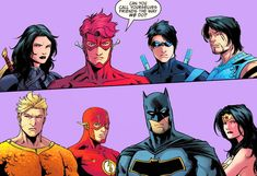 Titans vs the league Nightwing/Kid Flash/Aqualad/Donna Batman/Flash/Wonder Woman/Aquaman Kid Flash, Dc Movies, Comic Movies, Comic Books, Nightwing, Batgirl, Marvel Vs, Marvel Comics, Dc Comics Women