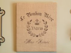 Kate's Place: Stenciled French Burlap Wall Hanging