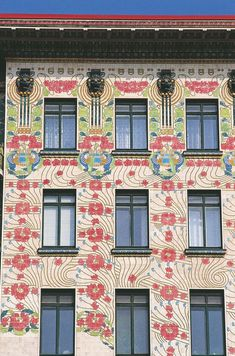 'Majolika designed by Otto Wagner a 6 story building located in Vienna, Austria, is decorated with ceramic tiles of … House Architecture Styles, Architecture Details, Modern Architecture, Art Nouveau Arquitectura, Home Crafts, Arts And Crafts, Otto Wagner, Vienna Secession, Design Movements