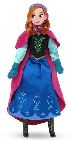 Ready to go in her winter dress, cap and cape, bring home the beauty of Princess Anna with this huggable collectible doll. Click image for details.