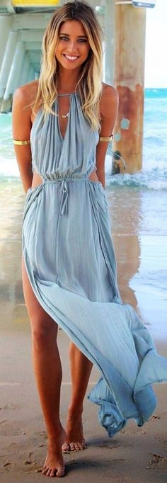 CLICK TO BUY NOW $39  Bohemian Halter Neck Sleeveless Hollow Out Maxi Dress with Side Split