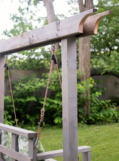 How to Build a Porch Swing Stand & How to Hang a Porch Swing - Gina Michele Porch Swing Frame, Diy Swing, Pergola Swing, Diy Pergola, How To Hang Porch Swing, Build A Swing Set, Backyard Swings, Outdoor Swings, Porch Swings
