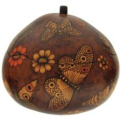 Gourd Butterfly Box Hand Carved Peru I WANT ONE! :)