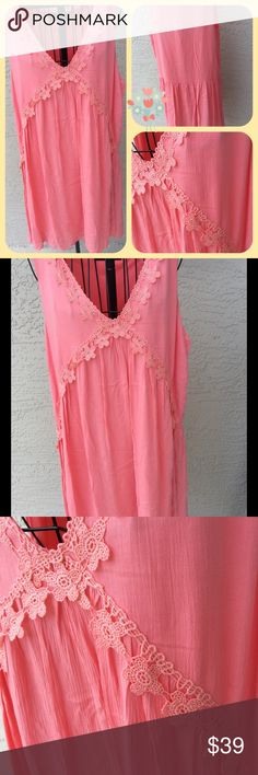 """Fairy tail dream ☘new with tags Boho pink dress☘new with tagslength 34""""chest 19"""" waist 20""""Made in USA lined ✨Bohemian dress perfect for a walk on the beach ...✨comfortable and stylish ✨ Dresses"""