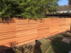 Cedar slatted fencing panels as a garden boundary fence Slatted Fence Panels, Contemporary Fencing, Bristol Houses, Back Garden Landscaping, Cool House Designs, Back Gardens, View Source, Simple House, Trellis