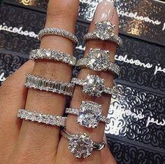 Diamond engagement and wedding rings Diamond Rings, Diamond Jewelry, Solitaire Rings, Solitaire Diamond, Cute Jewelry, Jewelry Accessories, Flower Jewelry, Ring Verlobung, Diamond Are A Girls Best Friend