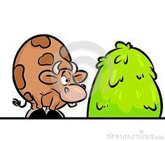 Cow haystack cartoon illustration animal character
