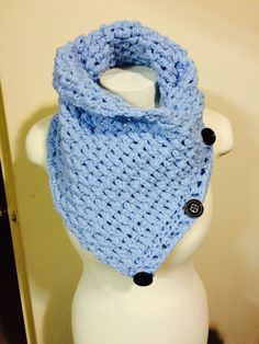 Light blue button cowl. 5 ways to wear it