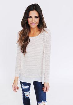 Beige/Grey Striped Chiffon Bottom Top - Dottie Couture Boutique