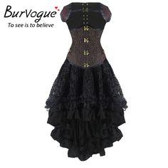 eda4751a535 Burvogue New Sexy Steampunk Corset Dress Women High Waist Skirts and Waist  Control Corset Steampunk Corset