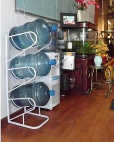 Hottest Custom Welcomed White Painted Reinforced Metal Shelves Storage Rack  3 Liter Gallon Water Bottle Rack
