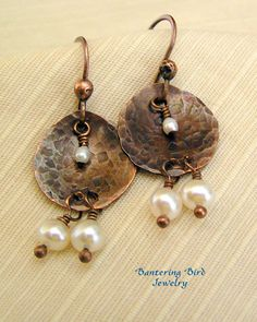 Small Hammered Copper Petal Earrings with Pearls...Copper is the new silver and I like it!