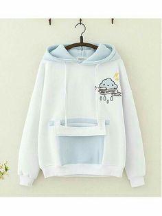 Cloud Thunder Embroidery Hoodie - Clothing World Pastel Fashion, Kawaii Fashion, Lolita Fashion, Cute Fashion, Teen Fashion, Korean Fashion, Fashion Outfits, Mod Fashion, Mode Kawaii