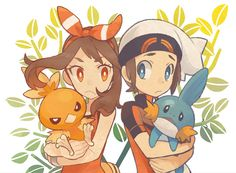 May & Torchic / Brendan & Mudkip Pokemon Mew, Pokemon Ships, Pokemon Comics, Pokemon Fan Art, Cute Pokemon, Pokemon Images, Pokemon Pictures, Sapphire Pokemon, Ideas