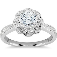 Zac Posen Truly Zac Posen Scalloped Floral Halo Diamond Engagement... (11.155 NOK) ❤ liked on Polyvore featuring jewelry, rings, accessories, floral engagement rings, diamond engagement rings, engagement rings, 14 karat gold jewelry and 14k diamond ring