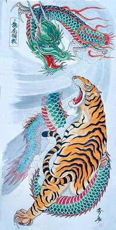 Dragon Tiger Tattoo, Tiger Dragon, Chinese Dragon Tattoos, Dragon Art, Japanese Tiger Tattoo, Tiger Artwork, Tiger Tattoo Design, Dragon Tattoo Designs, Buddhist Art