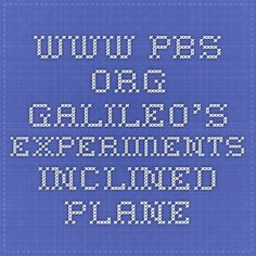 www.pbs.org Galileo's Experiments inclined plane