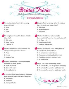 fun bridal shower printable games bridal trivia bridal shower questions bridal shower question game