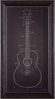 'Acoustic Guitar Blueprint' by Lauren Rader Framed Graphic Art