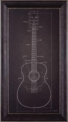 'Acoustic Guitar Blueprint' by Lauren Rader Framed Graphic Art