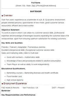 Sample Bartender Resume Skills Unforgettable Bartender Resume Examples To Stand Out Myperfectresume, Waitress Bartender Resume Skills Bartender Resume Sample Jason, Bartender Resume Template Free Agimapeadosencolombiaco, Resume Skills List, Resume Tips, Resume Examples, Resume Ideas, Resume Objective Sample, Sample Resume Format, Resume Services, Manager Resume, Resume Layout