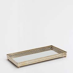 Image 1 of the product Rectangular mirrored metal tray