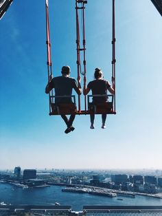A Couple blog - Swinging in Amsterdam - Amsterdam Lookout - Over the Edge Swing | Good Vibes , Happy Couple