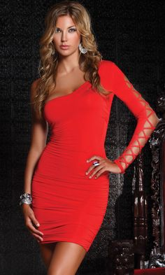 Forplay Intermingle One Shoulder Mini Dress - Red or Black - FREE SHIPPING! #Forplay #OneShoulder #Clubwear