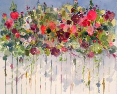 """Contemporary Painting - """"Hollyhocks Over the Fence"""" (Original Art from Kay Smith)"""