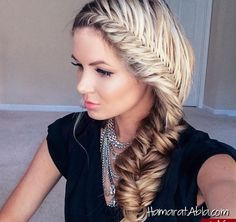 Take fishtail braid hairstyles to the next level. Here are the most interesting fishtail braid hairstyles to try with the help of step by step tutorials. Fishtail Braid Hairstyles, Down Hairstyles, School Hairstyles, Updo Hairstyle, Prom Hairstyles, Braided Updo, Grecian Hairstyles, French Hairstyles, Teenage Hairstyles