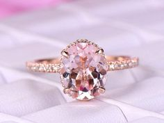 8x10mm Oval Morganite Engagement Ring Pave Diamond 14K Rose Gold Milgrian Under Gallery - 6.25 / 14K Yellow Gold