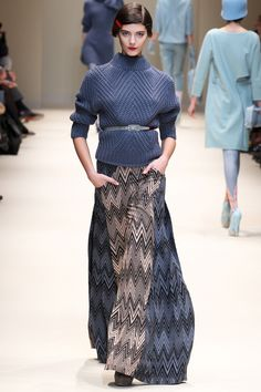 long skirt + belted sweater