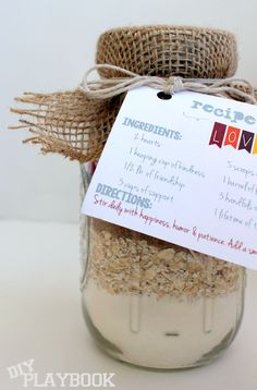 Fill a mason jar with the ingredients from your favorite cookie recipe and give as a seasonal gift!