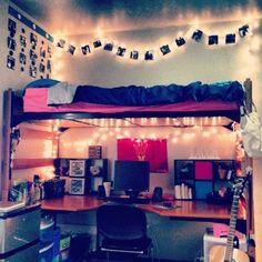 Cool little desk sanctuary underneath bunked bed // dorm room inspiration // dorm room decoration and designs