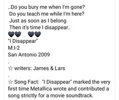 Soundtrack, Metallica, First Time, Writer, Facts, Teaching, Songs, Rock, Writers