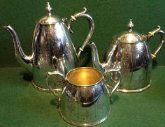 Beautiful Quality Antique c1883 Elkington Silver Plated 3 Piece Set Tea Pot Etc Watering Can, Silver Plate, Tea Pots, Beautiful, Antiques, Tableware, Ebay, Antiquities, Antique