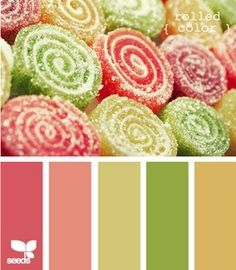 Palette inspired by candy: red, pink, green and yellow #color #palette #design